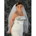 Illusions Bridal Corded Edge Veil S1-362-C: Fingertip Length, Diamond White, Rhinestone Accent
