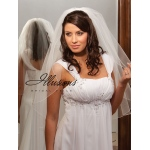 Illusions Bridal Corded Edge Veil 1-301-C: Pearl Accent