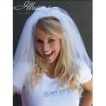 Illusions Bridal Cut Edge Veil Bachelorette: White