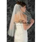 Illusions Bridal Cut Edge Wedding Veil 1-301-CT: Waist Length, Pearl Accent