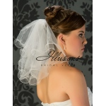 Illusions Bridal Filament Edge Wedding Veil C5-152-F: 2 Tier Flyaway, Rhinestone Accent