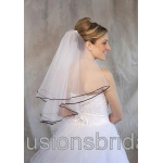 Illusions Bridal Colored Veils and Edges: Black Ribbon Edge