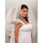 Illusions Bridal Ribbon Edge Veil S1-302-SR: Pearl Accent