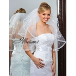 Illusions Bridal Ribbon Edge Veil S1-252-1SR: Pearl Accent