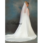 Illusions Bridal Ribbon Edge Veil CH-721-3R: Pearl Accent