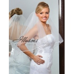 Illusions Bridal Ribbon Edge Veil C7-302-1R: Rhinestone Accent