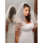 Illusions Bridal Ribbon Edge Veil C7-252-SR: Pearl Accent