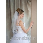 Illusions Bridal Colored Veils and Edges: Navy Blue Rattail Edge