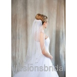 Illusions Bridal Colored Veils and Edges with Silver Ribbon Edge