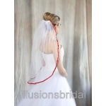 Illusions Bridal Colored Veils and Edges with Red Ribbon Edge