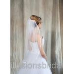 Illusions Bridal Colored Veils and Edges with Pink Ribbon Edge
