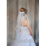 Illusions Bridal Colored Veils and Edges: Light Blue Ribbon Edge