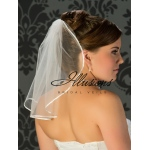 Illusions Bridal Ribbon Edge Wedding Veil 5-151-1R: Rhinestone Accent, flyaway