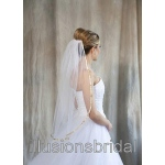 Illusions Bridal Colored Veils and Edges with Gold Ribbon Edge