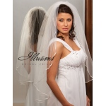 Illusions Bridal Ribbon Edge Veil 1-361-1R: Pearl Accent