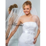 Illusions Bridal Ribbon Edge Veil 1-301-1R: Pearl Accent