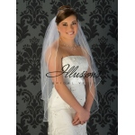 Illusions Bridal Soutache Edge Veil S5-362-ST: Pearl Accent, Fingertip Length