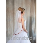 Illusions Bridal Colored Veils and Edges with Burnt Orange Ribbon Edge