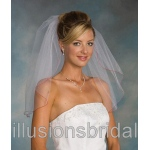 Illusions Bridal Colored Veils and Edges with Red Corded Edge 1-201-C-RD