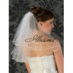 Illusions Bridal Soutache Edge Veil C7-202-ST: Pearl Accent