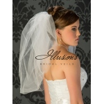 Illusions Bridal Bubble Cut Veil B7-25: Rhinestone Accent