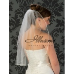 Illusions Bridal Soutache Edge Veil 5-251-ST: Pearl Accent