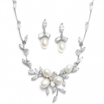 Mariell Freshwater Pearls in CZ Leaves Neck Set