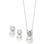 Mariell Cubic Zirconia with Pearl Solitaire Bridal Or Bridesmaid Necklace & Earrings Set