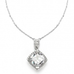 Mariell Popular Micro Pave CZ Cushion Cut Wedding Necklace