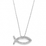 Mariell Christian Fish Faith Necklace in Cubic Zirconia & Rhodium