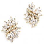 Mariell Gold Cubic Zirconia Cluster Bridal Earrings with Delicate Marquis Stones