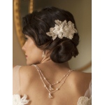 Mariell Sophisticated Handmade Bridal Comb with Ivory Beaded Floral Lace Applique