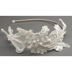 Mariell Vintage Ivory Lace Headband with Pearls & Sequins