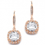 Mariell Magnificent Cushion Cut CZ Bridal Or Pageant Earrings in Rose Gold