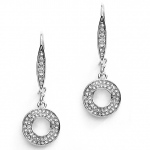 Mariell Abstract French Wire Pave Earrings for Bridal Or Prom