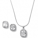Mariell CZ Cushion Cut Bride Or Bridesmaid Necklace Set