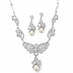 Mariell Magnificent CZ Pave Scroll Bridal Necklace Set with Pearl