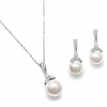 Mariell Pearl Drop Necklace Set with Vintage CZ