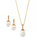 Mariell Gold Pearl Drop Necklace Set with Vintage CZ