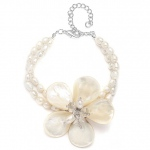Mariell Exotic Freshwater Pearl Bridal Bracelet with Flower