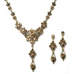 Mariell Brown Multi Crystal Cluster Necklace Set