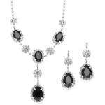 Mariell Rhinestone Prom & Bridesmaid Neck Set with Black Teardrops