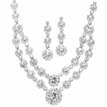 Mariell Regal Silver Two Row Rhinestone Neck Set