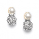 Mariell Ivory Pearl Bridal Earrings with Pave CZ Balls