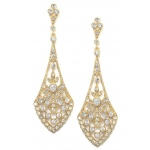 Mariell Dramatic Gold Vintage CZ Bridal Earrings