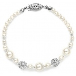 Mariell Best Selling Bridal Bracelet with Pearls & Rhinestone Fireball
