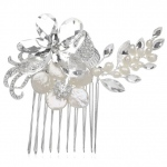 Mariell Crystal Bridal Comb with Freshwater Spray