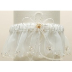 Mariell Organza Bridal Garters with Pearls and Chain Edging: Ivory