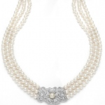 Mariell 3-Row Pearl & Cubic Zirconia Vintage Wedding Necklace