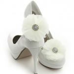 Mariell Ivory Tulle and Crystal Bridal Shoe Clip
